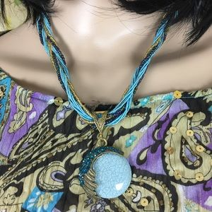 Jewelry - Blue Beaded and Stone Fashion Necklace